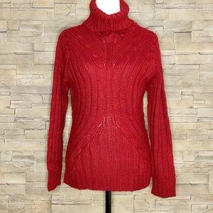 Blue Motion red turtleneck sweater